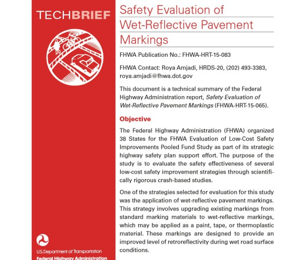 """Informe: """"Safety Evaluation of Wet-Reflective Pavement Markings"""""""