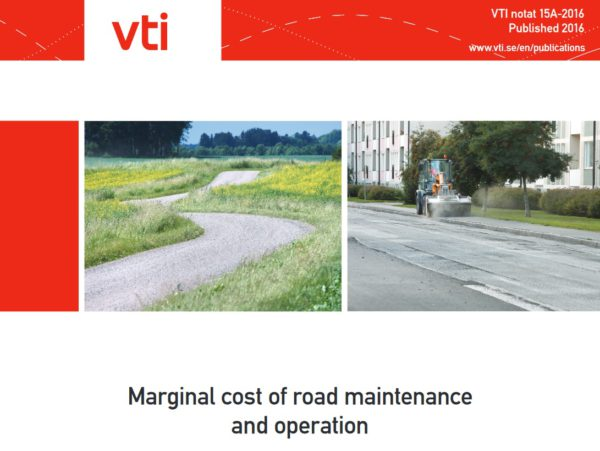 "Informe ""Marginal cost of road maintenance and operation Swedish estimates based on data from 2004 to 2014"""